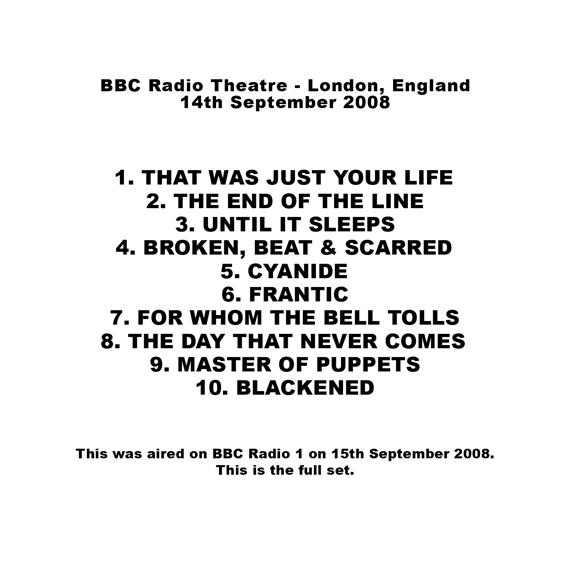 roio » Blog Archive » METALLICA - BBC RADIO THEATRE 2008