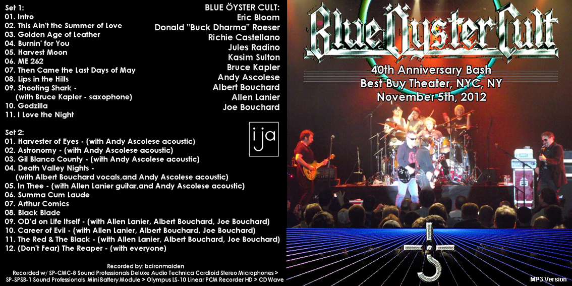 Roio 187 Blog Archive 187 Blue Oyster Cult New York 2012