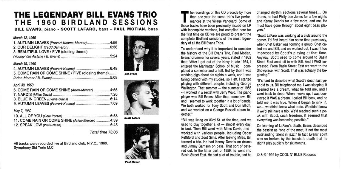 roio » Blog Archive » BILL EVANS TRIO - BIRDLAND 1960