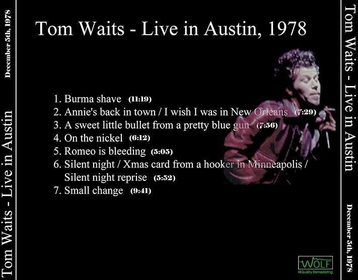 Tom Waits Austin City Limits 1978 No Label 1cd Live At Studio 6a Communications Building B University Of Texas December 5
