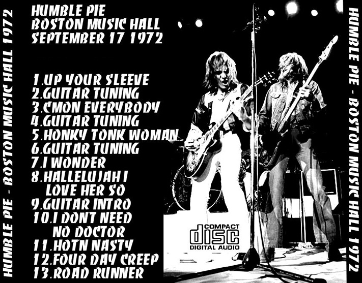 HUMBLE PIE Boston 1972 No Label 1CD Live At The Music Hall MA September 17 Fairly To Very Good Audience Recording