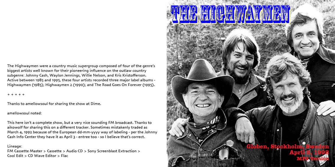 Roio Blog Archive The Highwaymen Stockholm 1992