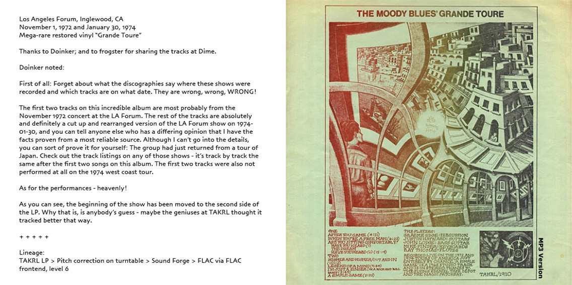 roio » Blog Archive » THE MOODY BLUES - INGLEWOOD 1972/1974