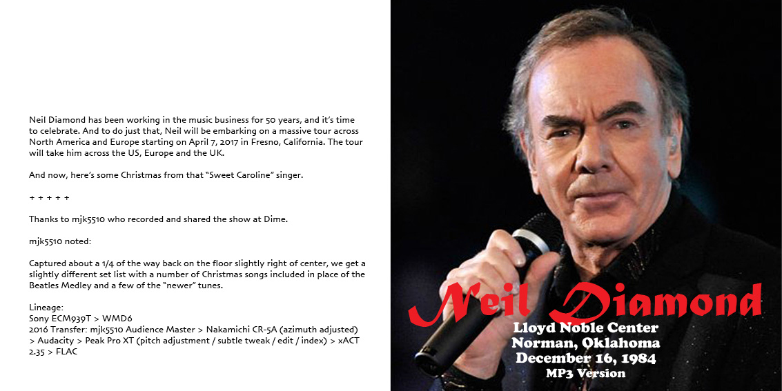 click on the panels for a better view or to download jpg artwork - Neil Diamond Christmas Songs