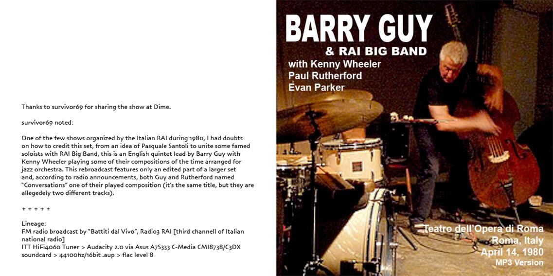 roio » Blog Archive » JAZZ ON SUNDAY: BARRY GUY - ROMA 1980