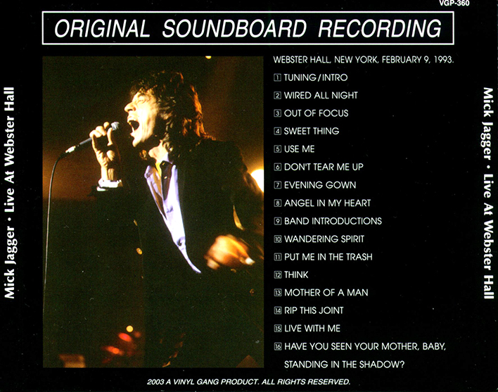 roio » Blog Archive » MICK JAGGER - WEBSTER HALL, NYC 1993