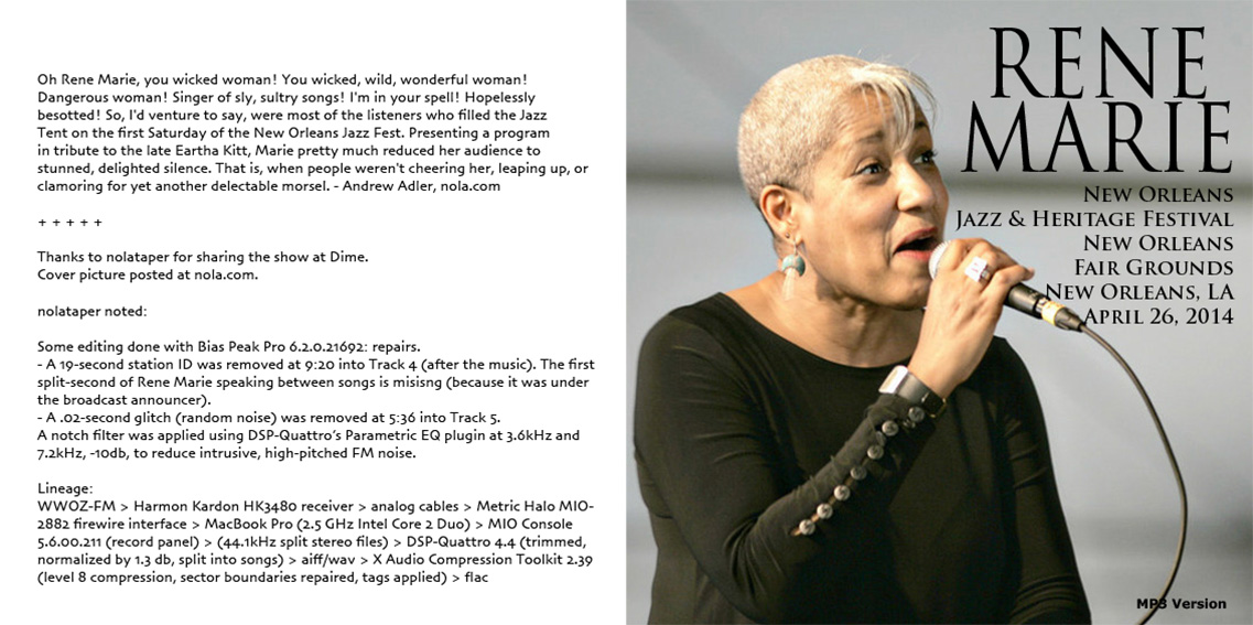 roio » Blog Archive » JAZZ ON SUNDAY: RENE MARIE - NEW ORLEANS 2014