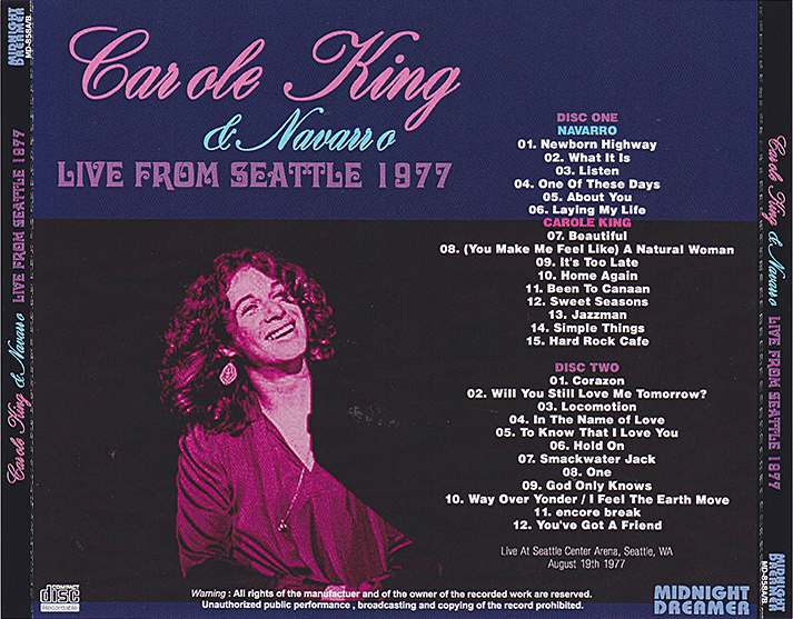 roio blog archive carole king with navarro seattle 1977. Black Bedroom Furniture Sets. Home Design Ideas